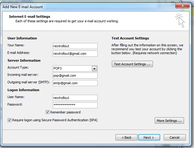 configure email account on outlook1