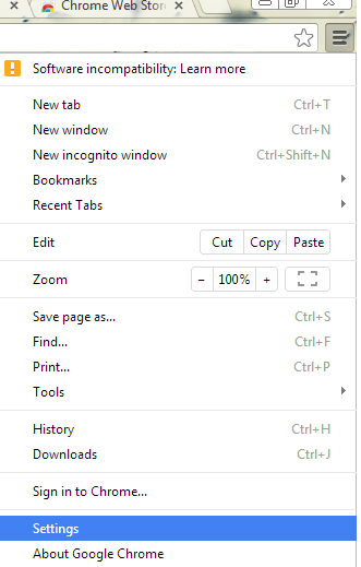 settings of crome browser