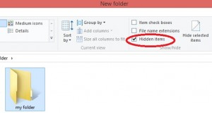 unhide a folder in windows8