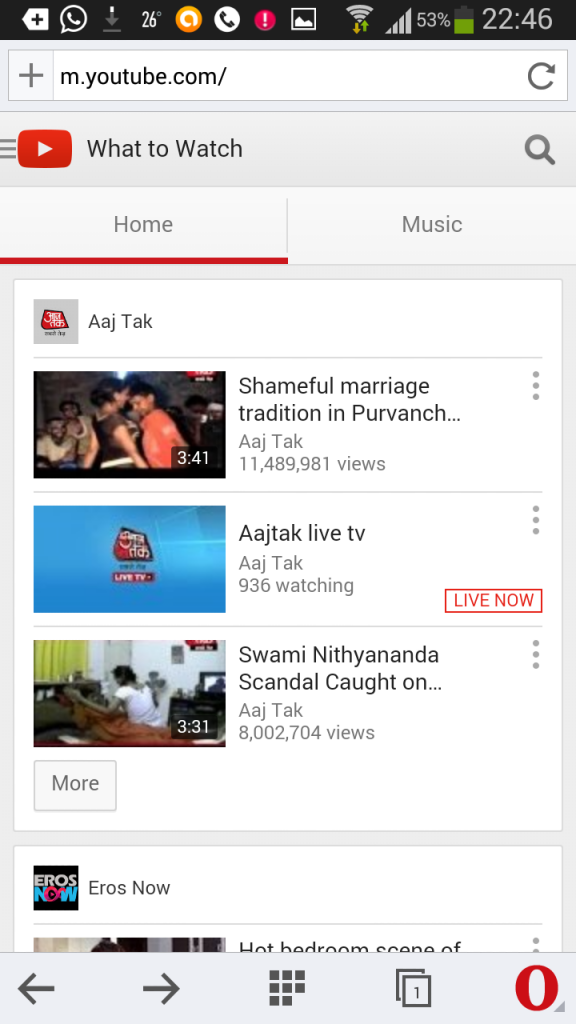 watch youtube videos in opera mini browser